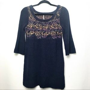 Free People Navy Floral Tunic Sweater